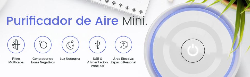 Pro Breeze Purificador de Aire Mini con Auténtico Filtro HEPA e ...