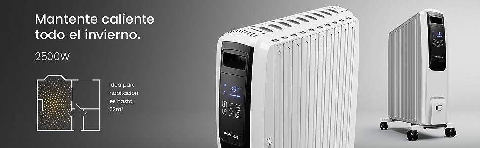 Pro Breeze Digital Radiador de Aceite 2500W - 10 Elementos, 4 Configuraciones de Calor, Temporizador y Termostato