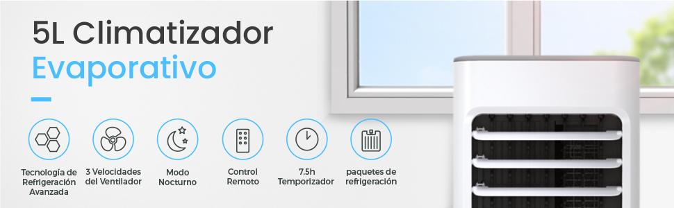 Pro Breeze® Climatizador Evaporativo Portátil 5L con 4 Modos de ...
