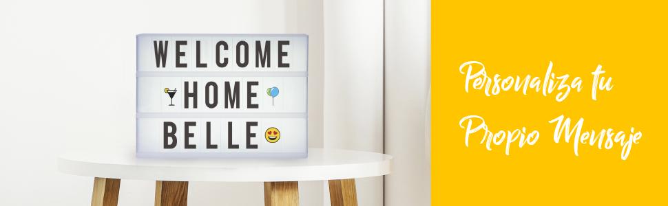 The Body Source Cosi Home ™ - Caja de luz LED en Formato A3 con Letras, Emoji, emoticonos y símbolos para Mensajes Personalizados. Alimentado por batería y USB: Amazon.es: Hogar