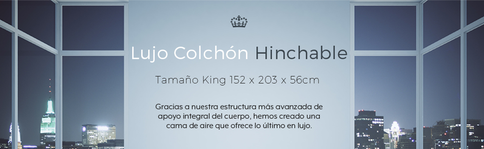 Active Era Colchón Hinchable Doble, King Queen Size - 203 x 152 x 56 - con Válvula Eléctrica y Almohada Incorporada