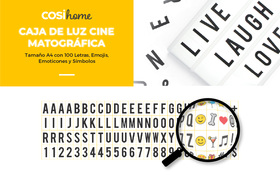 Cosi Home ™ - Caja de luz LED en formato A4 con letras, Emoji, emoticonos y símbolos para mensajes personalizados. Alimentado por batería y USB: Amazon.es: Hogar