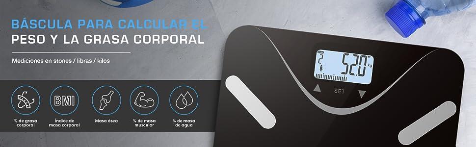 Active Era - Báscula de baño ultrafina para medir la grasa corporal. Analizador con% de grasa corporal, IMC, edad, peso y altura - Negro/Plata