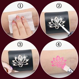 Luckyfine Kit de Tatuajes Temporales, Brillos Corporales, Brillos ...