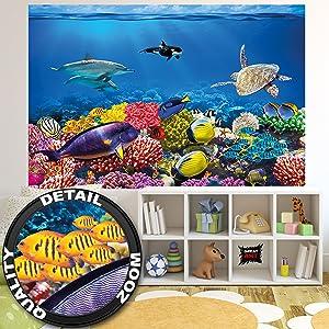 210 x 140 cm - 5 piezas ✓ Fotomural underwater world ✓ La asombrosa flora y fauna del mundo submarino como mural.