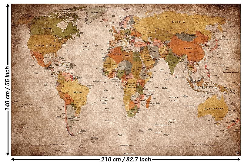 Fotomural mapamundi - Motivo de estilo vintage y retro