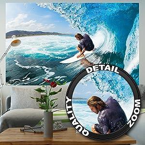 210 cm x 140 cm - 5 piezas ✓ Foto tapiz Surfer ola para el diseño de tu habitación ✓ Surfer boy en la ola perfecta como tapiz del pared ...