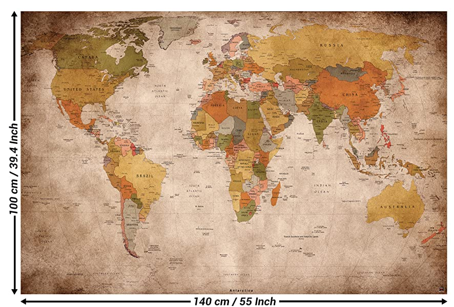 GREAT ART XXL Poster - Vintage y Retro World Map - Poster map ...