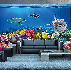 GREAT ART Foto Mural Mundo Submarino- Papel de Pared