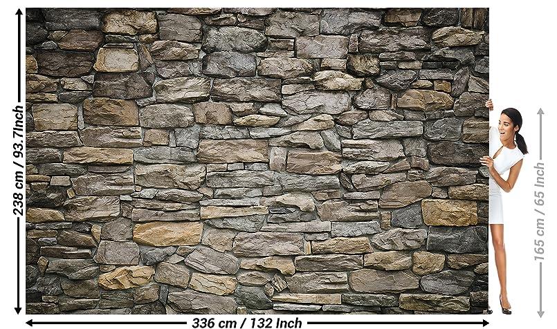Foto mural Grey Stonewal - Decoración de pared Piedra Óptica de piedras Tapices Patrón de piedras 1000piedras Tapiz en óptica de piedra 3D I foto-mural foto ...