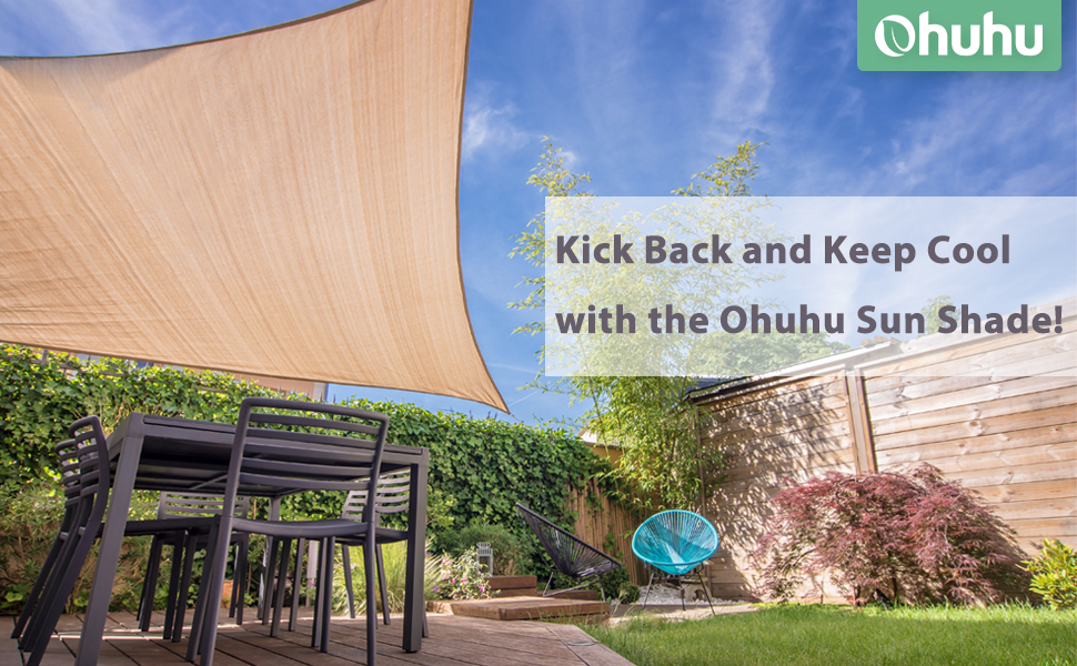 Ohuhu Vela de Sombra, Vela de Sombra Rectangular 2, 4 x 3 m con Kit instalación, Protección Rayos UV, Toldo Resistente e Lmpermeable, para Patio, Exteriores, Jardín: Amazon.es: Jardín