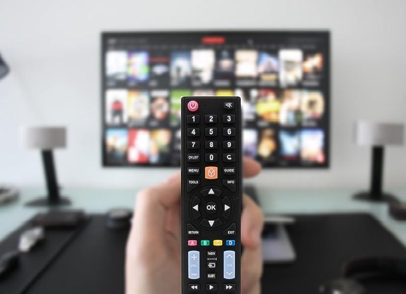 Mando a distancia Universal Plus 5 en 1 (Samsung/LG/SONY/Philips/Panasonic), Smart TVs, Programado y con función learning, Negro