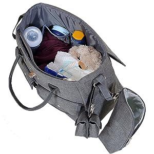 Bolso Cambiador Bebé de Pañales Para Regalo | Acople Para Carrito Universal | Portabiberones | Chupetero; Gris