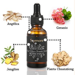 Ingredientes: Agua, etanol, aceite de raíz de jengibre, extracto de raíz de jengibre, extracto de angélica, extracto de Chuanxiong, extracto de geranio.