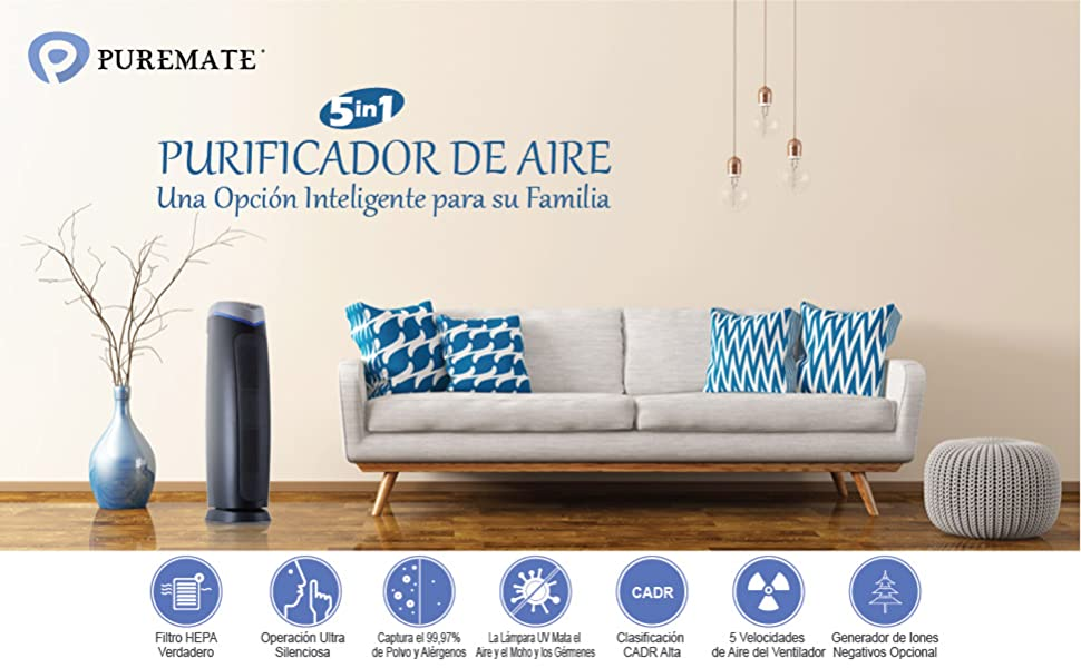 PureMate® PM 520 Múltiple Technologies Auténtico HEPA Purificador ...