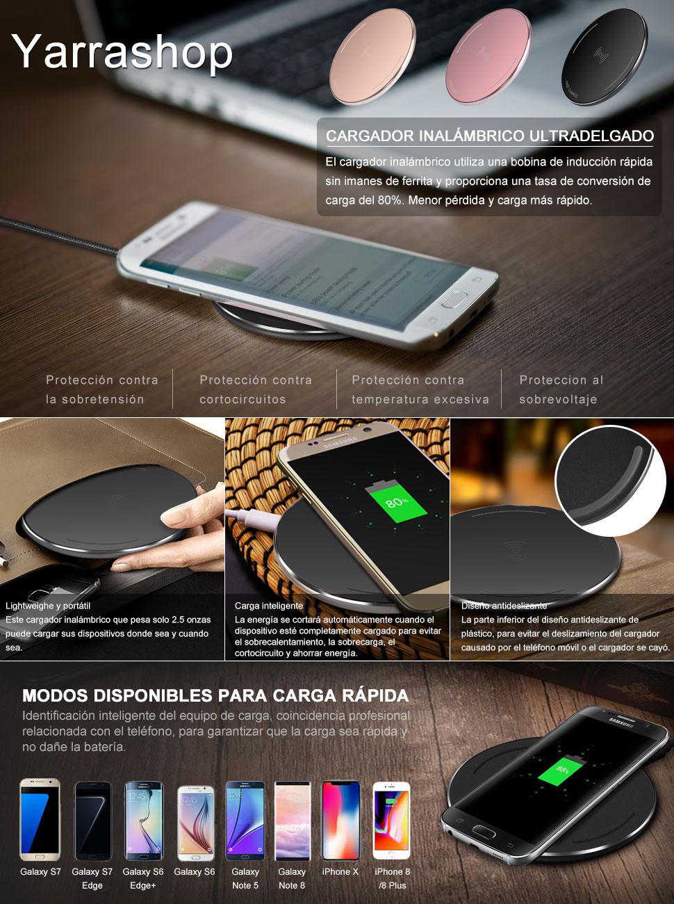Rápido Cargador Inalámbrico Wireless-Yarrashop Rápido Qi Carga ...