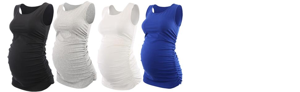 Túnica sin mangas acanalada del embarazo del chaleco básico de las mujeres (negro / gris / blanco / azul)