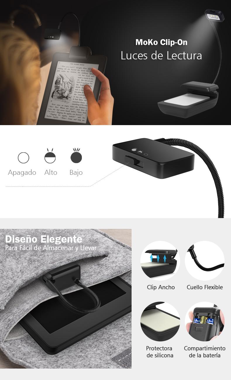 MoKo Luces de Lectura - Flexibel Lámpara para Amazon Kindle 1/2 ...