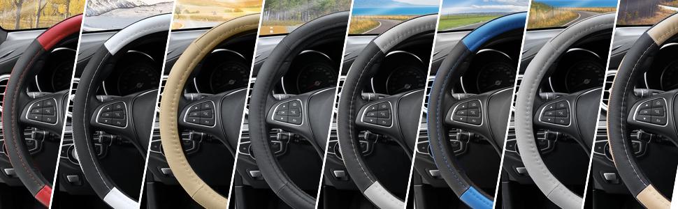 XTQDM cubierta para el volante,Cubierta del volante del coche Fundas de direcci/ón de cuero PU antideslizantes transpirables Adecuado 37-38cm Decoraci/ón autom/ática Fibra de carbono Azul