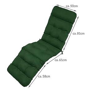 Beautissu Flair DC Cojín- colchoneta para Tumbona reclinable 200x50x8cm con Relleno de gomaespuma - Verde Oscuro Elegir