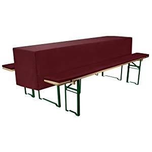 Beautissu Comfort S - Juego completo de fundas para una mesa y dos bancos de cervecería - 2 recubrimientos acolchonados Comfort S & 1 mantel semi-largo