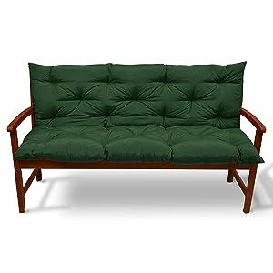 Beautissu Flair BR - Colchón, Respaldo, cojín de Bancos de jardín, terraza o balcón - 120x50x50cm Verde Oscuro - más Colores y tamaños a Elegir