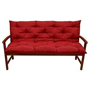 Beautissu Flair BR - Colchón, Respaldo, cojín de Bancos de jardín, terraza o balcón - 120x50x50 cm - Rojo