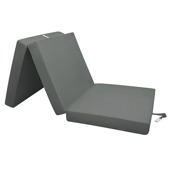 Beautissu Cómodo colchón Plegable Campix Auxiliar futón 80 x 195 x 10 cm Ahorra Espacio Tela Microfibra Antracita