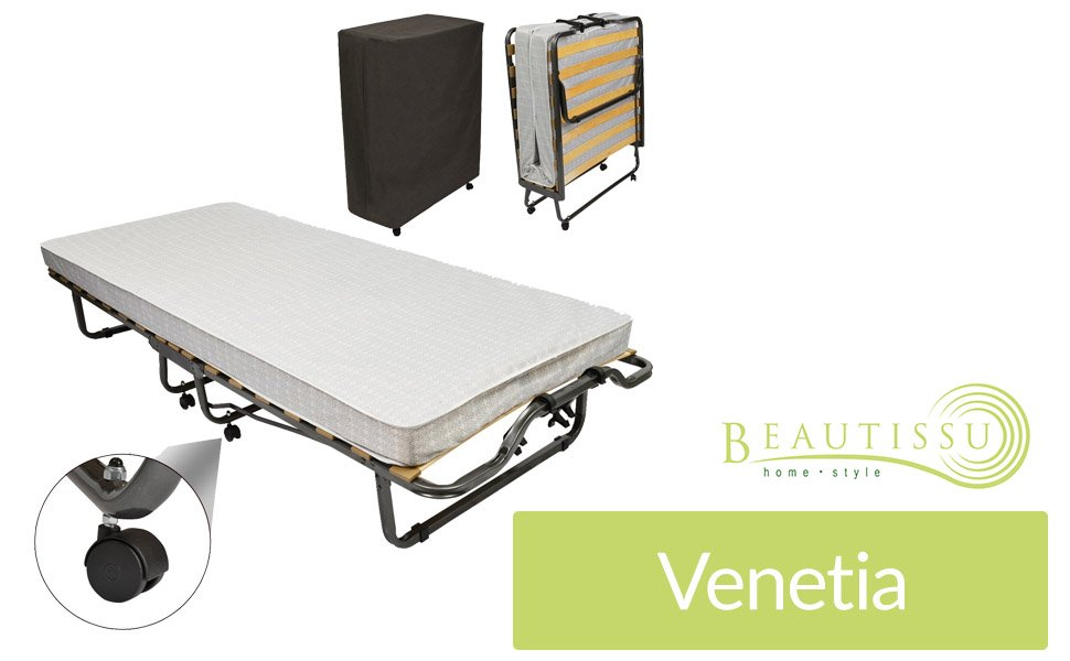 Beautissu cama plegable cama de invitados Venetia 90x200 cm estructura de metal robusto. Con bolsa de transporte