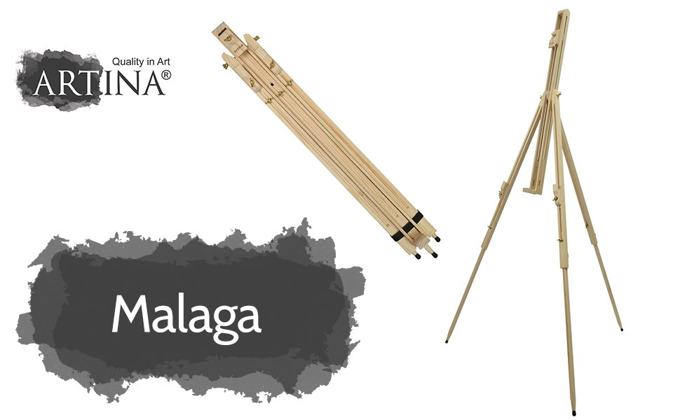 Artina Málaga - Caballete portátil de campo de madera de pino maciza