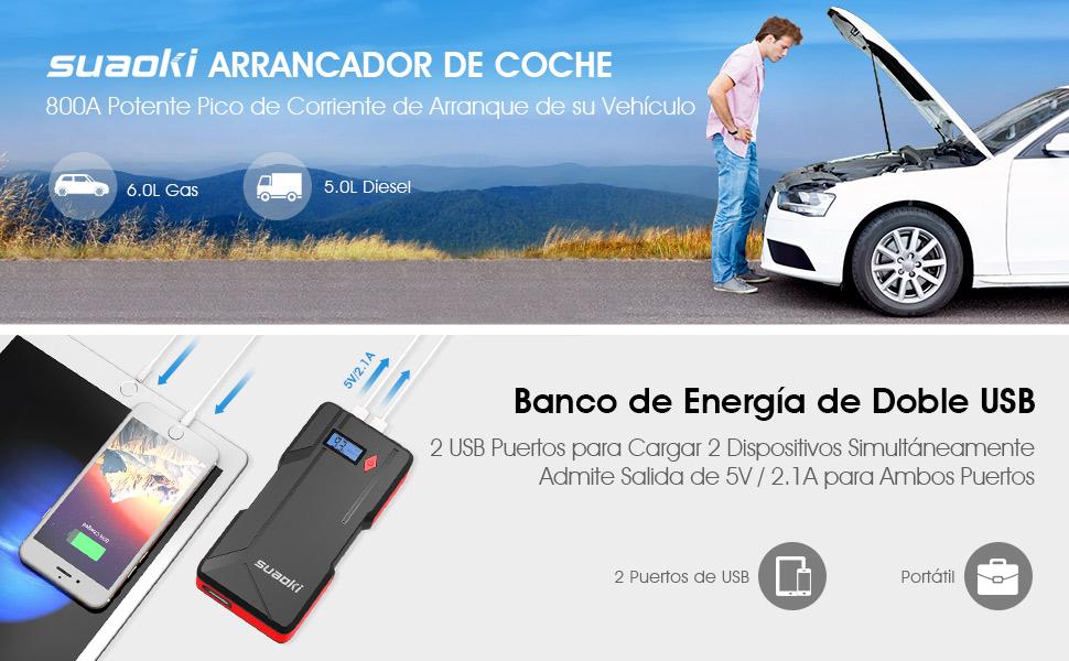 SUAOKI P6 arrancador de Coche 800A Batería de automóvil máxima ...