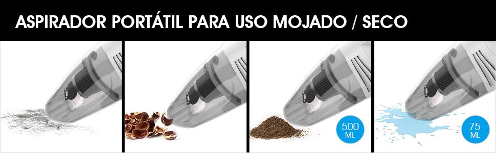 SUAOKI Aspirador de Coche 5.5Kpa, Uso húmedo y seco, aspiradora ...