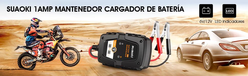 SUAOKI Cargador de Batería de Coche/Motocicleta 1Amp 6/12V, Cargador de batería portátil Mantenedor con indicadores de carga LED inteligentes, ...