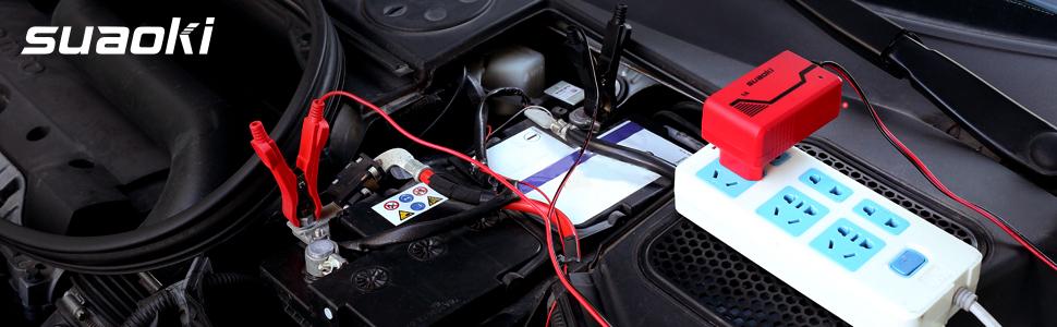 SUAOKI 1A 6V/12V Cargador de Batería Portátil, Mantenimiento Automático e Inteligente con Múltiples Protecciones para Coche, Motocicleta, Motocicleta, ...
