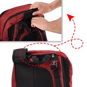 ... en la parte superior de la mochila le permite colocar objetos de valor sin preocuparse de que sus objetos de valor sean detectados por un ladrón