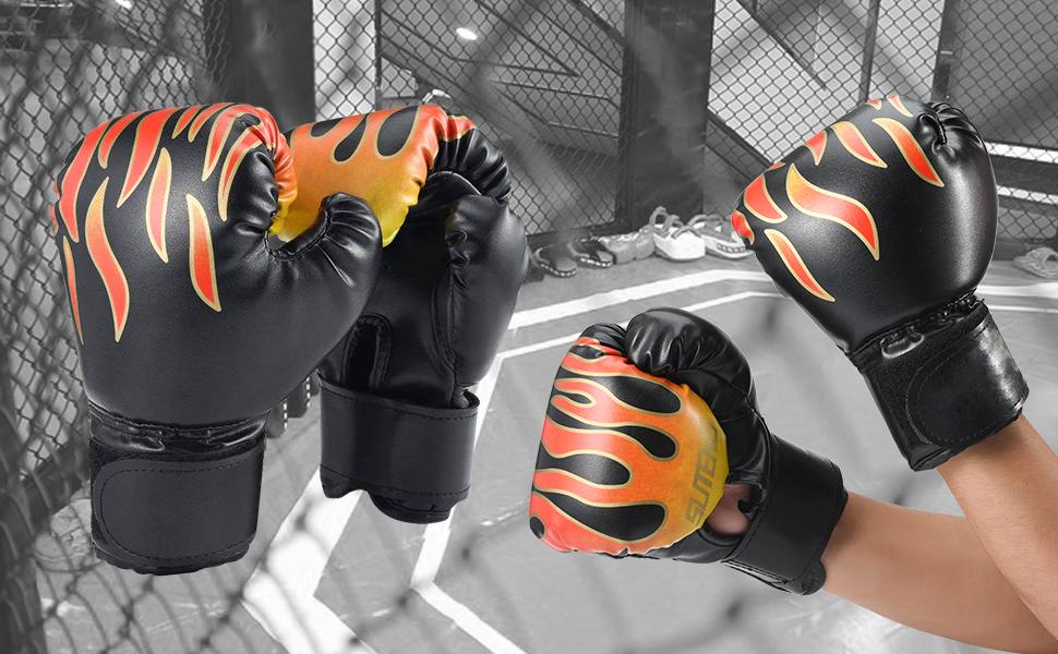 Ajustable Ni/ños Formaci/ón Guantes con Superficie de PU Cizen Guantes de Boxeo para Ni/ños Negro Ni/ños Sparring Boxeo Guantes Evitar Lesiones en Las Manos