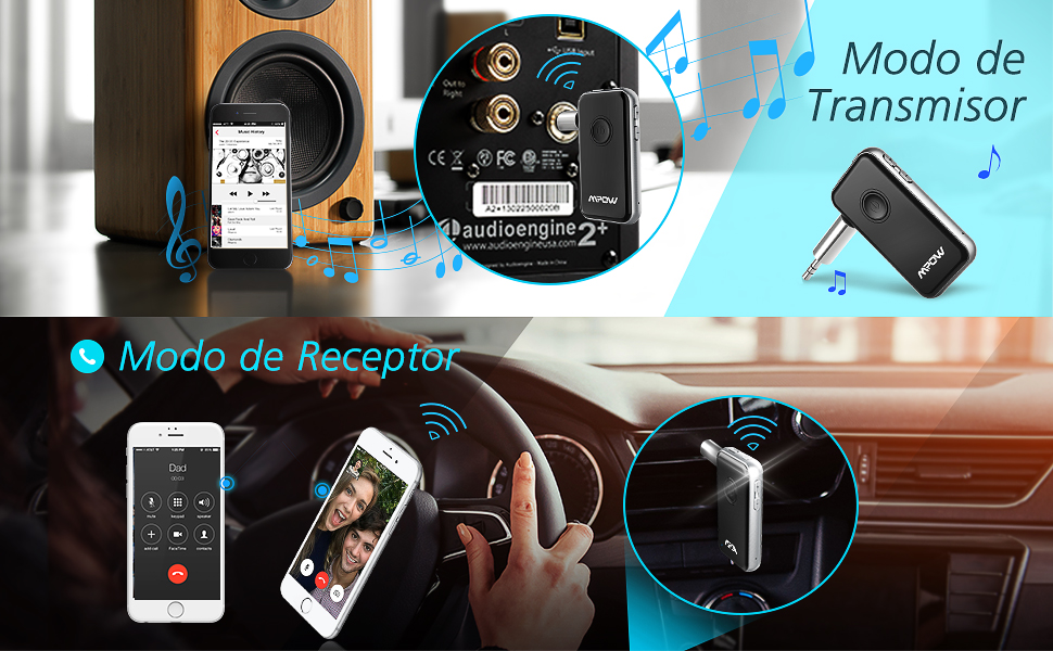 Transmisor Receptor Bluetooth 4.1 de Mpow, Emisor Bluetooth Audio 2 en 1 Adaptador sin Hilos del Audio de 3.5mm para Auriculares, Altavoz, TV, PC, ...