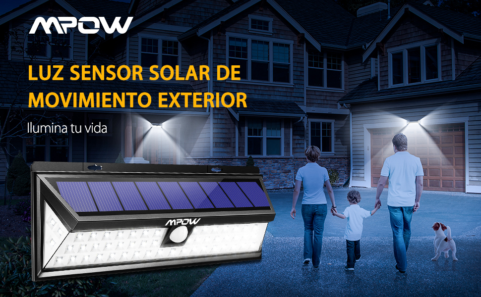 Mpow Foco Solar Exterior,Luces Solares Jardín 54 LED, Gran Ángulo ...
