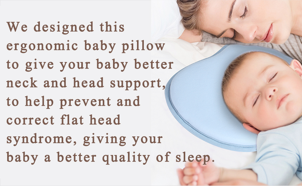 KSB 9 Inches Blue Soft Anti Roll Memory Foam Baby Head Positioner Pillow,Prevent Flat Head For 3 Months- 1 Year Infant (Apple shape) by KSB