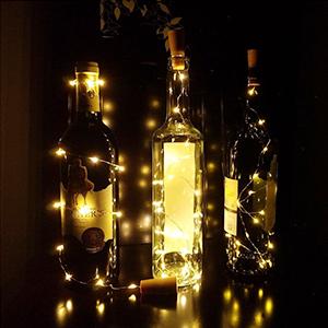 Anpro 6 Pack batería AAA no incluida, Luz de Botella de Vino,2 metros 20 luces cadena LED en Forma de Corcho,Lámparas Decoradas para Decoración DIY ...