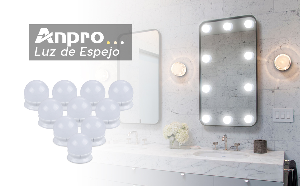 Anpro Luces LED Kit de Espejo con 10 Bombillas regulables,3 Modos ...