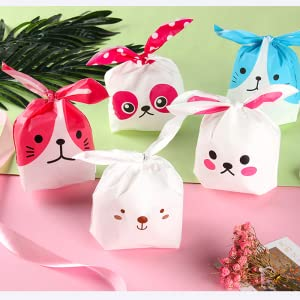 75 Piezas Bolsas Regalo Cumpleaños Bolsa de Dulce Bolsas Plástico para Confeti Forma de Conejo Bolsa de Galletas