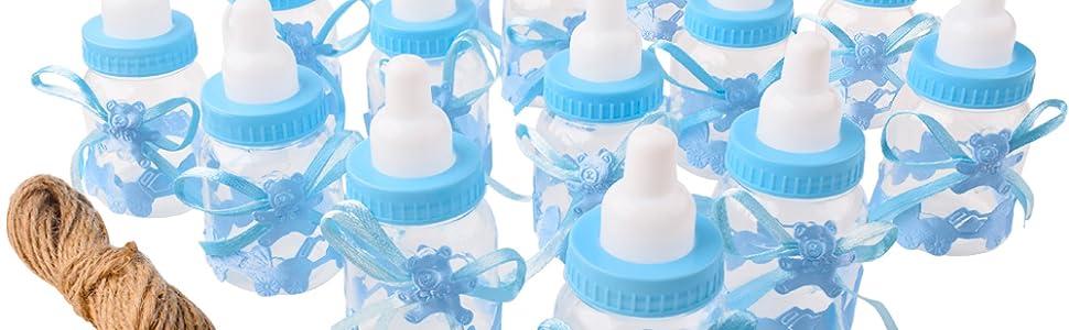 Gudotra 125packs 24pcs Biberones Bautizo Plastico Azul Botella Dulces+100pcs Tarjetas Blanco+10 Metros Cuerda de Yute para Recuerdo de Bautizo Baby ...