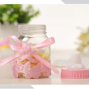 24pcs Caja Biberones Plastico Botella Dulces Rosa