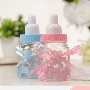 24pcs Caja Biberones Plastico Botella Dulces Azul.