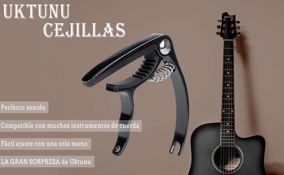 Uktunu Guitar Capo está diseñado para guitarras acústicas y eléctricas, también se adaptan a otros instrumentos diferentes, como Ukulele, Banjo, Bass, ...