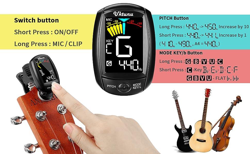 Guitarra Afinador de Clip Uktunu A3-CS Afinador de Guitarra ...
