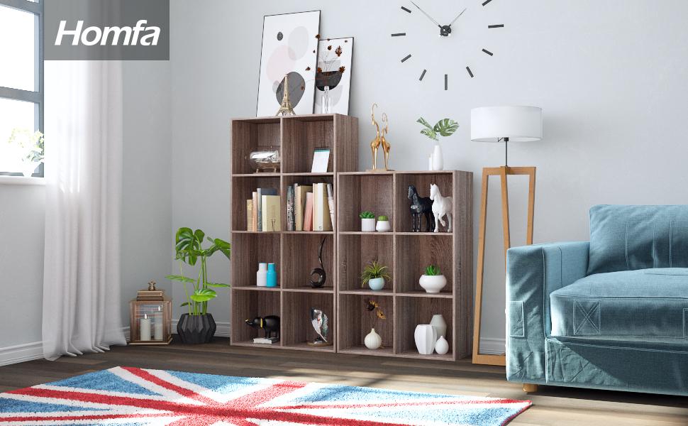 Homfa Estantería Librería con 6/8 compartimentos abiertos aprovecha al máximo cada espacio de su hogar.