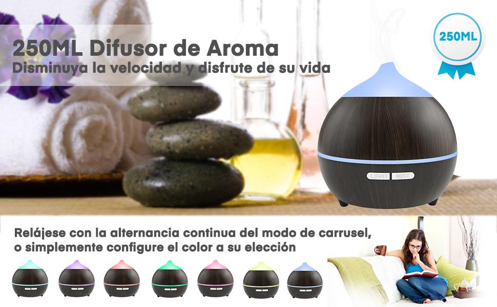 Difusor de Aceites Esenciales, 250 ml Aroma Difusor ...