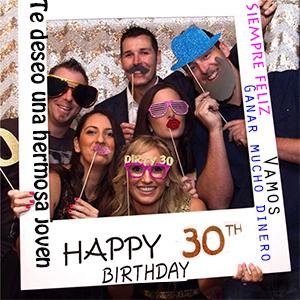 Tumao 40 pcs DIY Photo Booth 30 años Cabina de Fotos Accesorios cumpleaños photocall Fiesta Accesorios,diseño de Marco